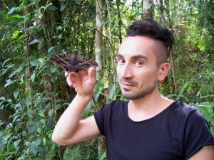 Cristo with an Ascalapha sp. moth (Noctuidae)