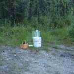 BioQuip UV moth trap set up at the base of the bluff in the Bonanza Creek Experimental Forest, about 20 road miles from my house on Chena Ridge.