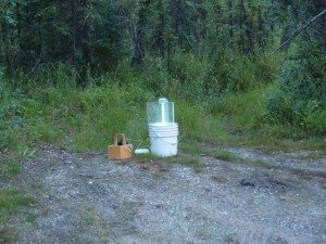 Ken Philip's  BioQuip UV moth trap set up at the base of the bluff in the Bonanza Creek Experimental Forest.