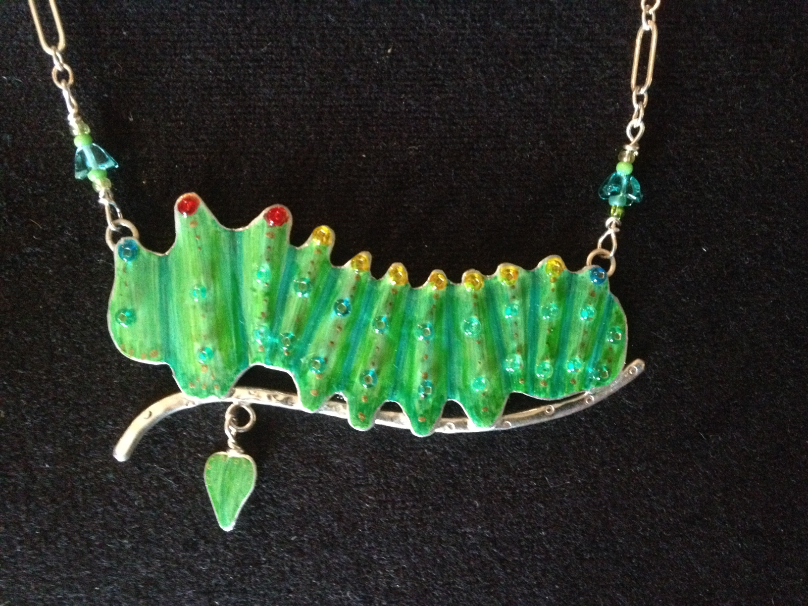 Lucy Golden Caterpillar necklace
